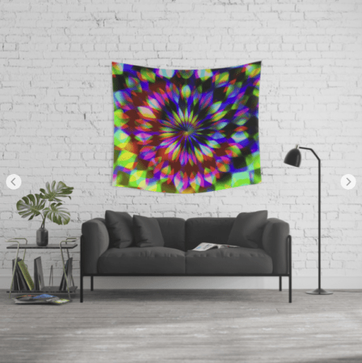 Psychedelic Rainbow Swirl Wall Tapestry