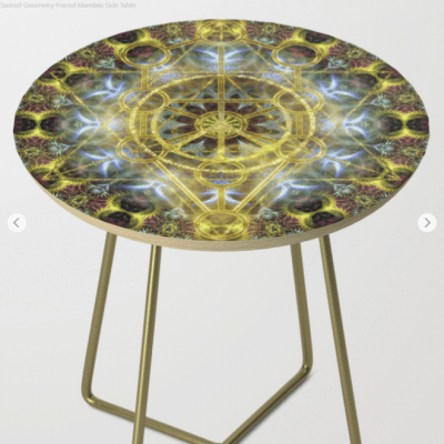 Sacred Geometry Fractal Mandala Side Table 13 by Webgrrl.biz (Society6)