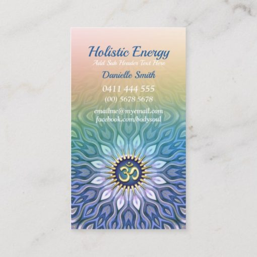 Blue Purple & Peach Energy Meditation Mandala Yoga Business Card by Webgrrl (Onlinecards)