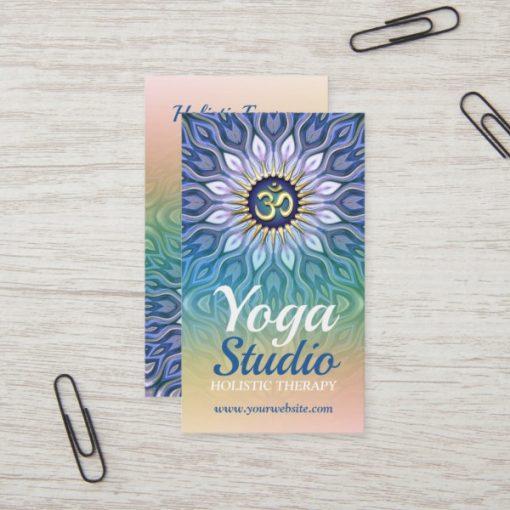 Blue Purple & Peach Energy Meditation Mandala Yoga Business Card by Webgrrl (Onlinecards)