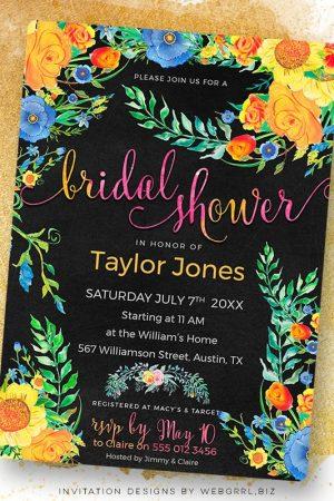 Colorful Floral on Black Bridal Shower Invitation by Webgrrl