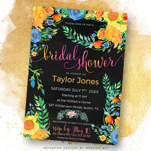Colorful Floral on Black Bridal Shower Invitation by Webgrrl