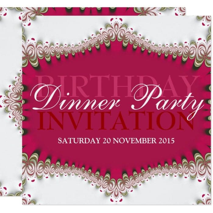 Red White Vintage Lace Birthday Dinner Party Invitation