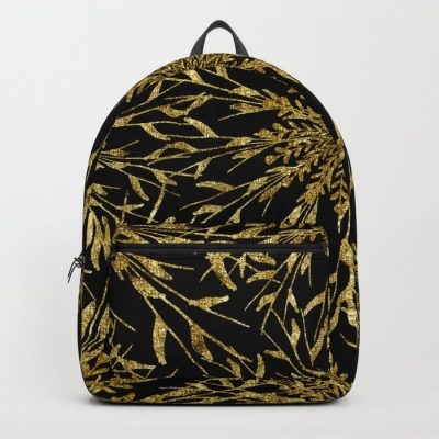 Black and gold glam nature elements Backpack