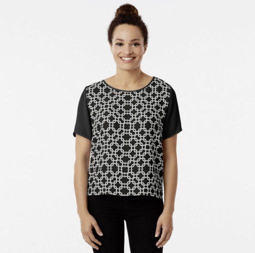 Women's Chiffon Top Interlock Black and White Patterns V2019-2 by webgrrl