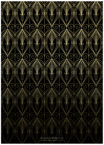 Black and Gold Art Deco Wedding Invitation (back)
