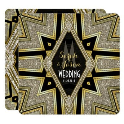 Art Deco Goldy Diamonds Wedding Invitations by AlternativeWeddings
