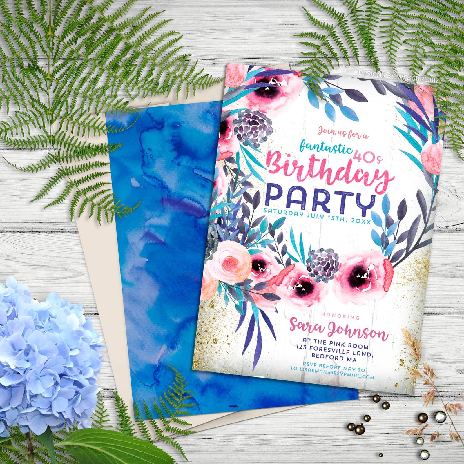 Blue Pink Floral Wreath | Rustic Birthday Party Invitation by Webgrrl