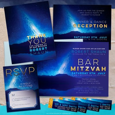 Space Night Sky Bar Mitzvah Invitation