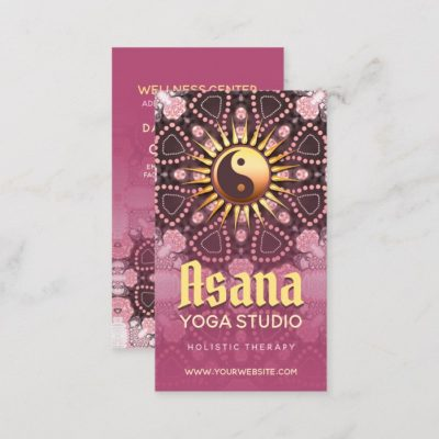 Dusky Pink & Gold Yin Yang Holistic Asana Yoga Business Card