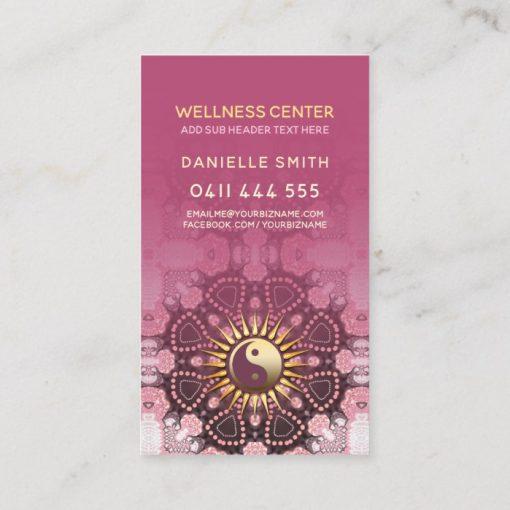 Dusky Pink & Gold Yin Yang Holistic Asana Yoga Business Card