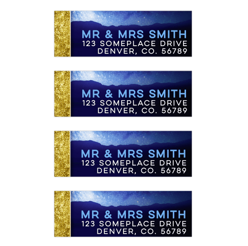 Gold Bordered Space Night Sky Blue Address Labels