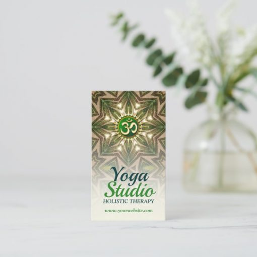 Green Love Energy Meditation Mandala Yoga Business Card by onlinecards