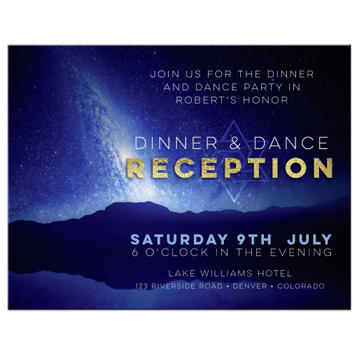Space Night Sky Bar Mitzvah Reception Enclosure Card