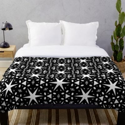Starry Night | Black and White Patterns #3 Throw Blanket Designed by webgrrl