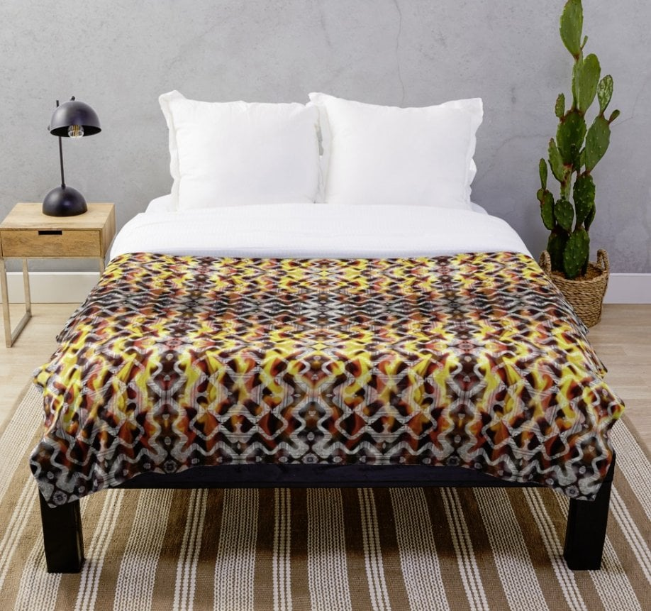 Tribal Fire Pattern Throw Blanket Designed by webgrrl