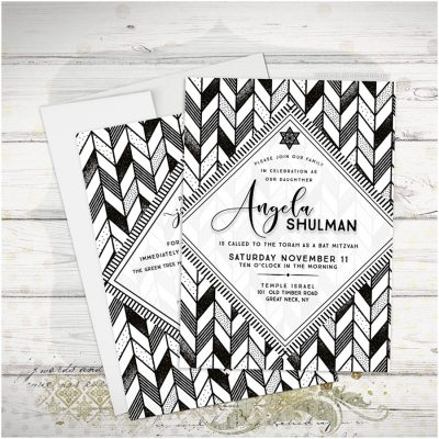 Boho Geometric Black and White Bat Mitzvah Invitation
