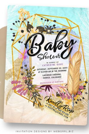 Gold Geometry Boho Floral Baby Shower Invitation