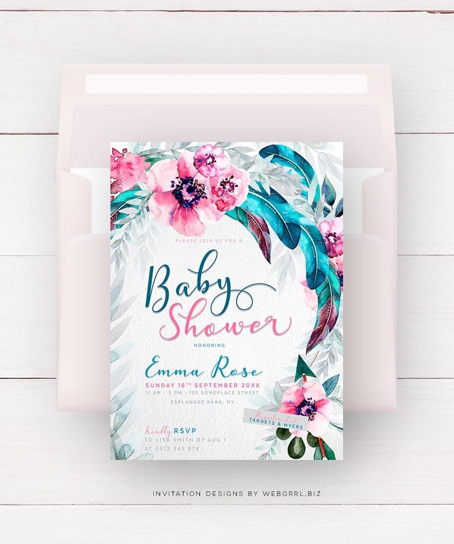 Flowers & Feathers Boho Baby Shower Invitation by Webgrrl