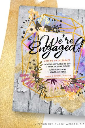 Modern Rustic Engagement Party Invitation | Floral Geometry