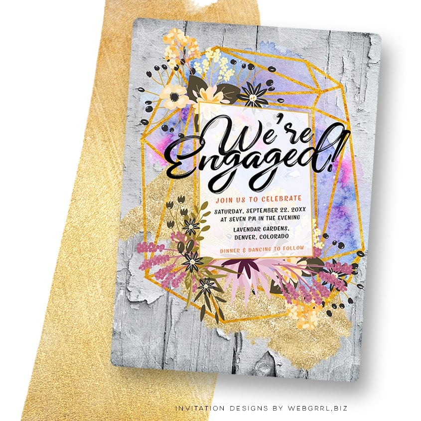 Modern Rustic Engagement Party Invitation by Webgrrl