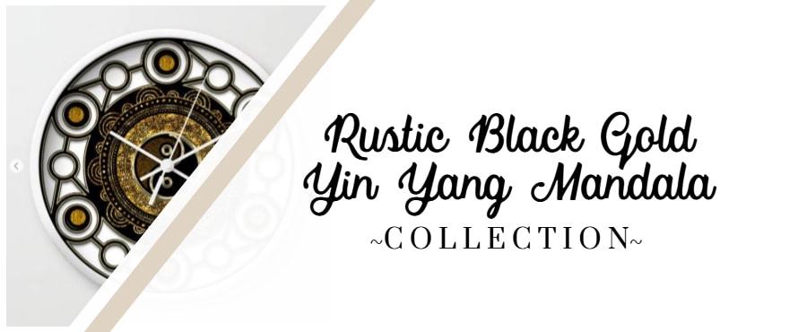 Rustic Gold Black Yin Yang Mandala
