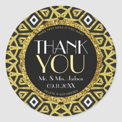 Gold Black Sparkle Thank You Classic Round Stickers