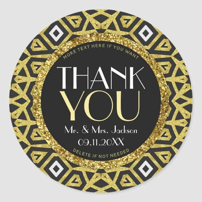 Gold Black Personalised Wedding Thank You Stickers By