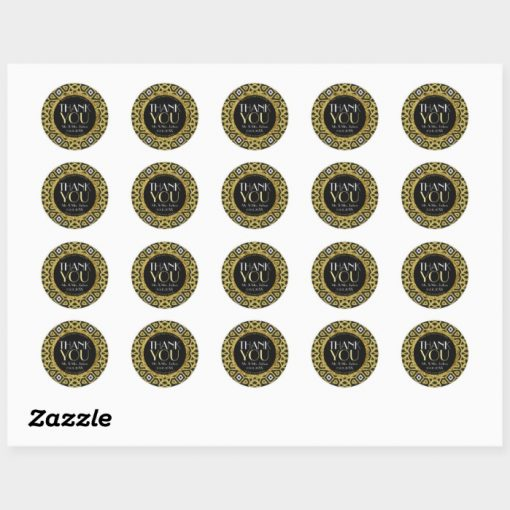 Gold Black Sparkle Thank You Stickers sheet of 20