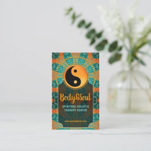 Sangria Gold Sparkle Teal Orange Yin Yang Balance Business Card by Webgrrl | onlinecards
