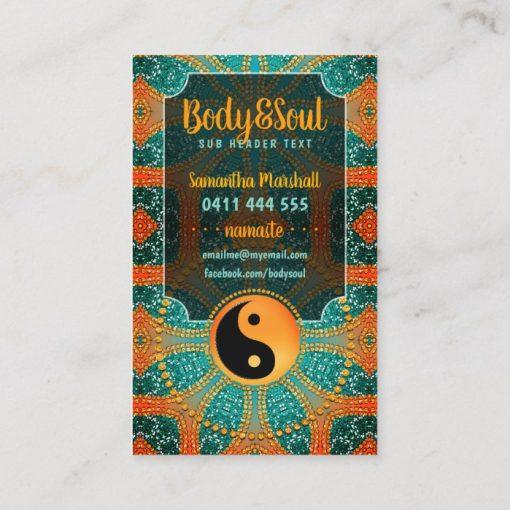 Sangria Gold Sparkle Teal Orange Yin Yang Balance Business Card (side 2) by Webgrrl | onlinecards