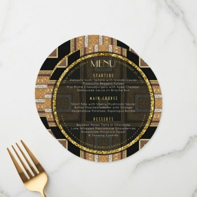 V1 Art Deco Gold Round Wedding Menu Card by AlternativeWeddings