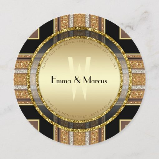 V1 Art Deco Gold Round Wedding Menu Card by AlternativeWeddings