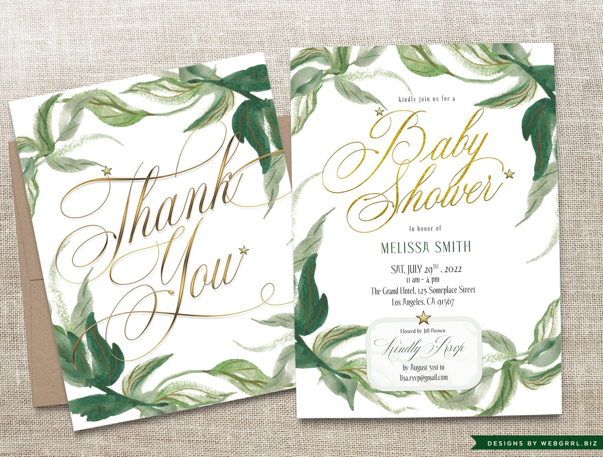 Gold & Greenery Baby Shower Invitation and Thank You Cards  by Webgrrl