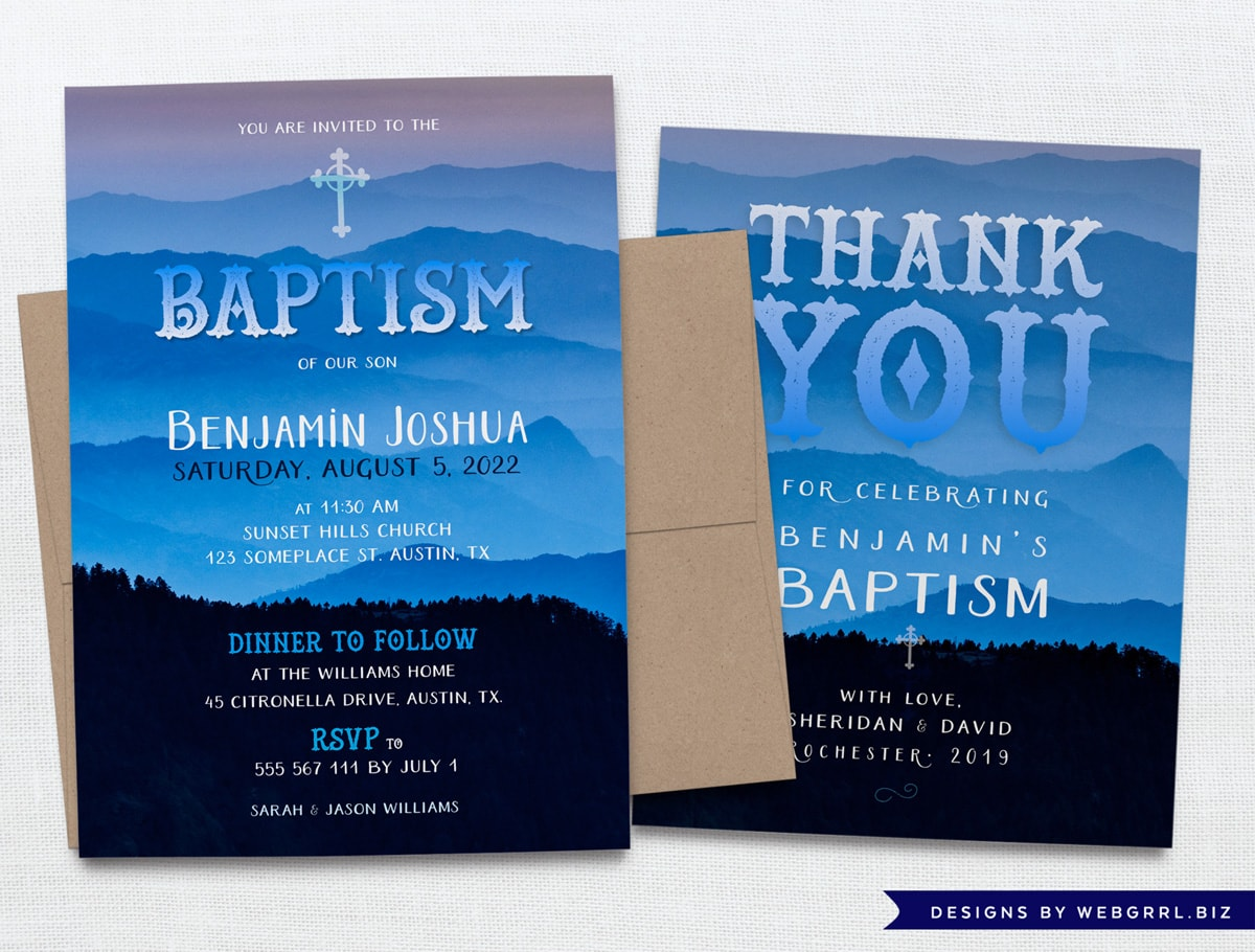 Nature Inspired Baptism Thank You Card by Webgrrl