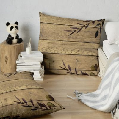 Earthy Nature Rustic Wood & Leaves Floor Pillow