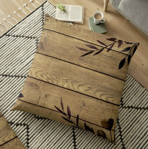 Earthy Nature Rustic Wood & Leaves Floor Pillow - top view