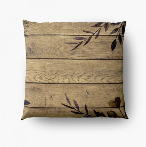 Earthy Nature Rustic Wood & Leaves Floor Cushion