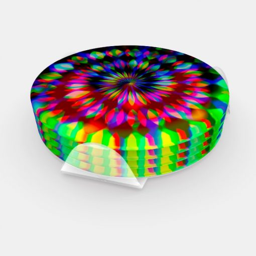 Psychedelic Rainbow Swirl Groovy Table Decor Coaster Set by webgrrl