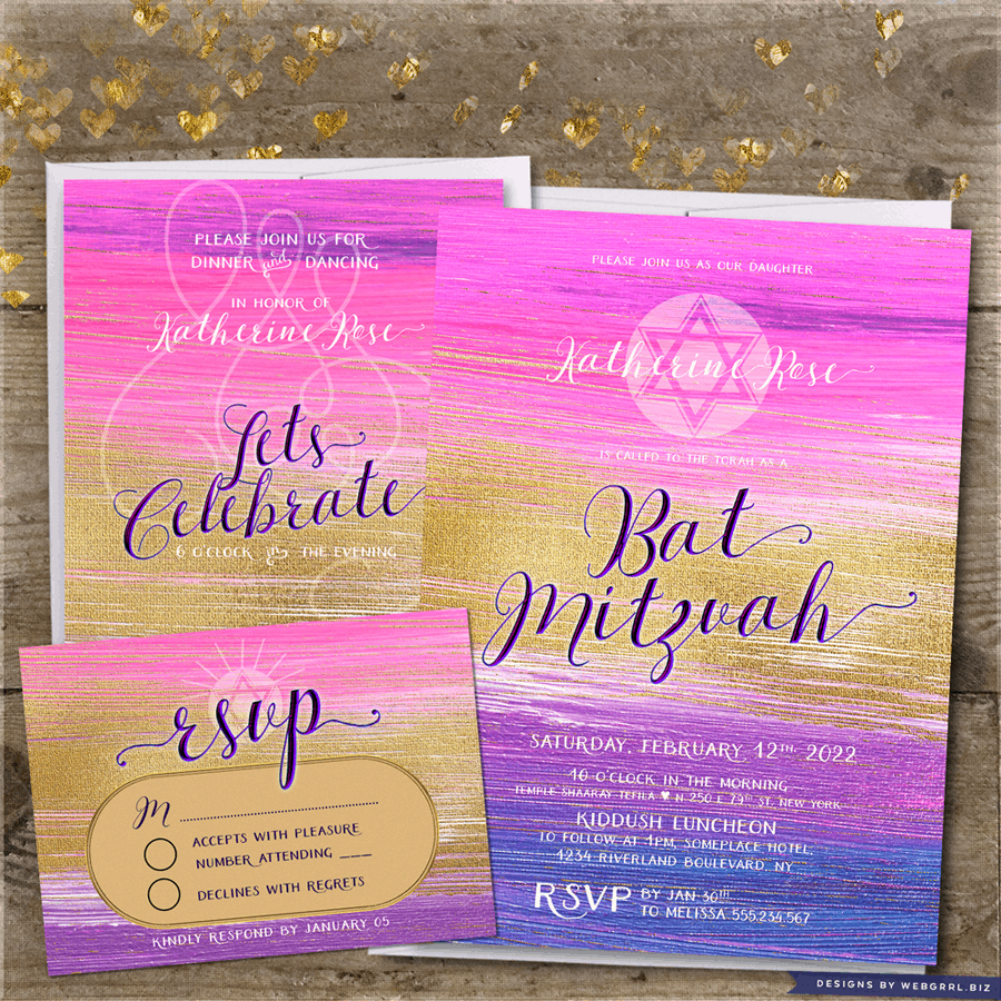 Pink Purple Ombre Gold Bat Mitzvah Invitation + Reception + RSVP Set by Webgrrl