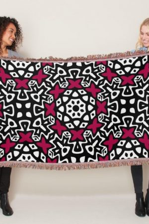 Black White Pink Pop Woven Throw Blanket by webgrrl
