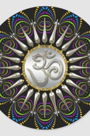 Psychedelic Tribe Silver Om Classic Round Sticker by webgrrl