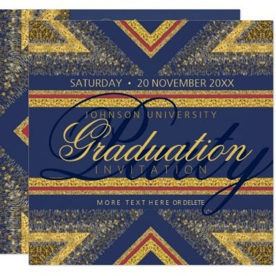 Red+Blue & Gold Shimmer Graduation Party Invites