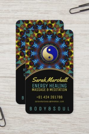 Yin Yang Energy Healing Royal Blue Gold Business Card by onlinecards