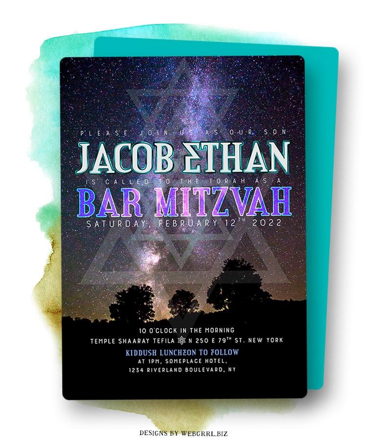 Nature Outdoors Night Sky Bar Mitzvah Invitation