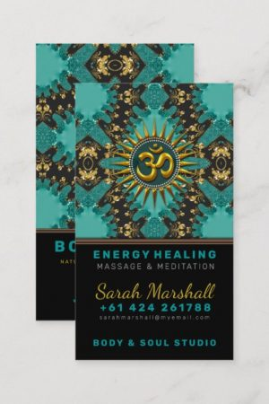 V2 Teal Gold Eastern Sparkle OM Yoga Business Card by onlinecards