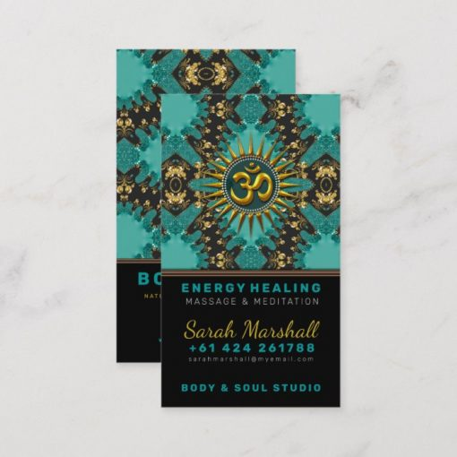 V2 Teal Gold Eastern Sparkle OM Yoga Business Card by onlinecards