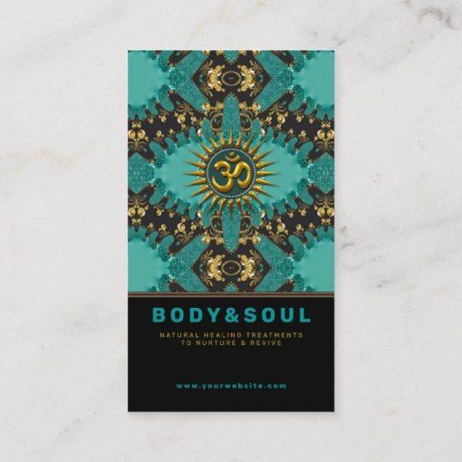 V2 Teal Gold Eastern Sparkle OM Yoga Business Card