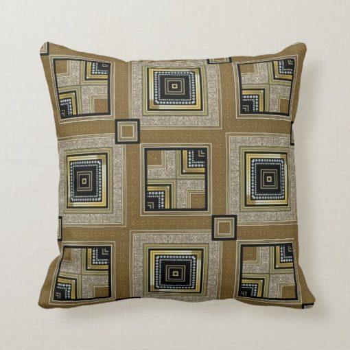 Black Gold Retro Art Deco Glam Cushion by webgrrl S1