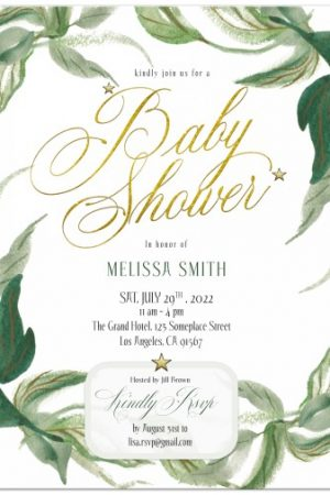 Gold & Greenery Baby Shower Invitation